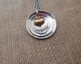 All SOLID STERLING silver .925-Mother-Grandmother-Aunt necklace with 4 names hand stamped+puffed 14k filled gold heart