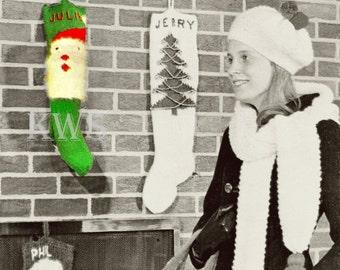 "Vintage 70's Christmas Knit ""SANTA"" Stocking - PDF Pattern"