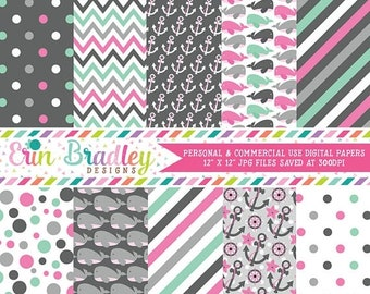 80% OFF SALE Nautical Girls Digital Papers Pack Anchors Whales Polka Dots Stripes Chevron Pink Aqua & Gray Printable Digital Scrapbook Paper