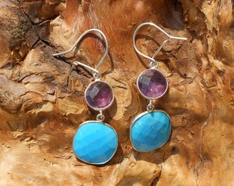 Turquoise and Amethyst earrings in sterling silver