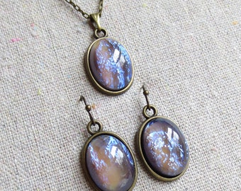 Tanzanite Fire Opal Dragon's Breath Glass Stone Jewelry Set, Oval Lavender Blue Flame Opal Earrings + Necklace, Gift for Her, Galaxy Jewelry