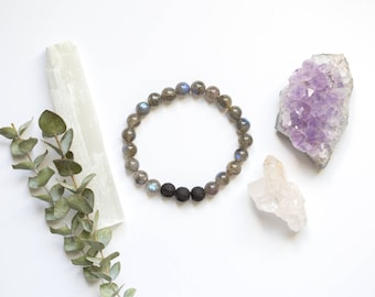 Labradorite Bracelet with Lava Stone | Essential Oil Diffuser Jewelry