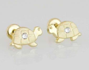 14K Gold Turtle Stud Earrings, Gold Turtle Stud Earring, Gold Turtle Earring, Gold Screw Back Earrings, Baby Earrings, Girl Stud