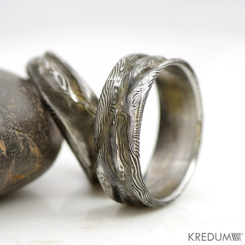 wide s rings steel beveled unique damascus band men mens wedding edge