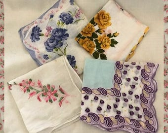 Vintage Cotton Handkerchiefs from the 1950s to 70s