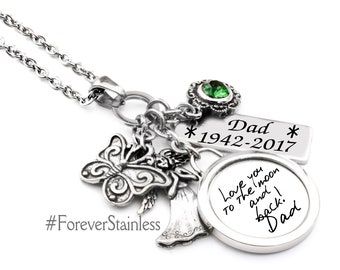 Handwriting Necklace, Signature Jewelry, Actual Handwriting Memorial Necklace, Birthstone Memorial Jewelry