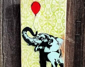 The Elephant and the Balloon Graffiti Art Painting on Photo Transfer Original Art on Handmade Canvas Home Decor