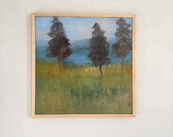 Framed Landscape Painting- Three Trees-  Mountains  and Water - 24 x 24 Stretched Canvas- 24x 24 Framed - Natural Wood Frame