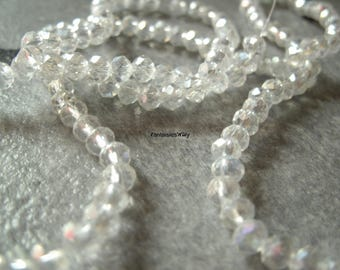 (PF42) Set of 20 effect transparent 4mm Crystal faceted glass beads.