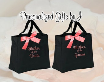 2 Personalized Bridesmaid Gift Tote Bags, Personalized Bridesmaid Gifts, Wedding Party Gift, Mother of the Bride Tote, Monogrammed Tote