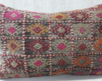 Kilim Pillow, Lumbar Pillow, Ethnic Pillow, Boho, Decorative Kilim Pillow, Cushion Cover, Throw Pillow, Tribal Pillow, Turkish Kilim Pillow
