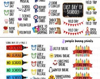 School Days Set // Planner Stickers