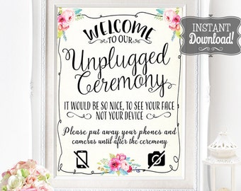 Unplugged Ceremony Poster - INSTANT DOWNLOAD - Wedding No Social Media, Phones Watercolor Floral Sign - 3 sizes included by Sassaby Weddings