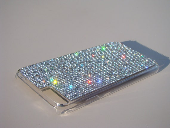 """iPhone 6 / 6s 4.7"""" Clear Diamond Crystals on Transparent Clear Case. Velvet/Silk Pouch Included, Genuine Rangsee Crystal Cases."""