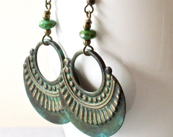 Boho Hoop Earrings - Patina, Ornate, Brass, Bohemian, Boho Earrings, Verdigris Jewelry