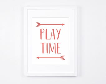 Play Time Nursery Art Printables, Coral Pink Playroom Decor Instant Download, Arrows Art, Girls Playroom, Sisters Room Decor, Pink Art