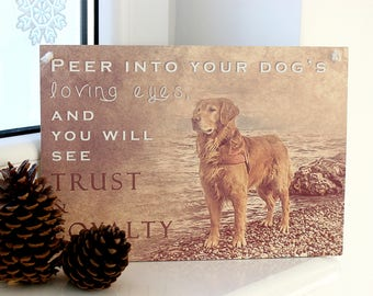Peer into the Loving Eyes of your DOG, and you will see TRUST & LOYALTY Quote Plaque - home decor,wall hanging wood sign,inspirational quote
