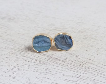 Bridesmaid Earrings, Blue Geode Stud Earrings, Druzy Earrings, Gemstone Earrings, Geode Studs, Drussy, Small Gold Posts, Agate Studs, G7-661