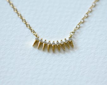 SAMPLE SALE Spike necklace, gold spikes, diamond pendant, cubic zirconia, edgy, modern, layering necklace, simple jewelry - Siri
