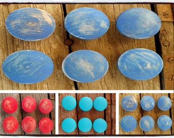 Distressed Wood Drawer Knob Red Blue Turquoises Wood Drawer Knob size 1.5 Dresser Drawer Pulls Wash Distressed Wood Drawer set 6