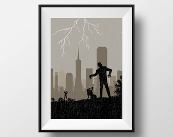 San Francisco Skyline, San Francisco art, San Francisco print, San Francisco poster, Halloween art, Halloween gift, Frankestein art, poster
