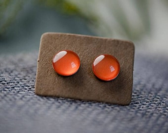 Orange Glass Earrings - Surgical Steel Hypoallergenic Orange Studs - Free Postage Sensitive Earrings