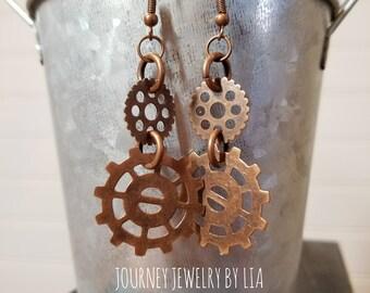 Copper (toned), Steampunk, gear, NICKEL FREE earrings