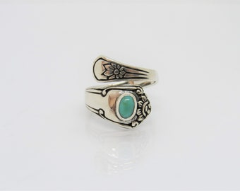 Vintage Sterling Silver Turquoise Spoon Ring Size 9