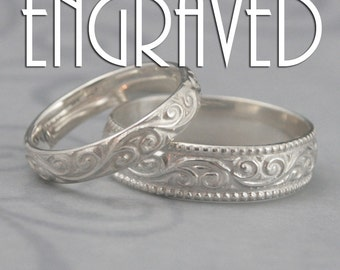 Engraved Wedding Bands~Flourish Set~Ring Engraving~Silver Wedding Bands~Personalized Rings~Wedding Date Bands~Patterned Rings~Name Rings