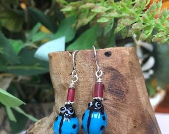 Blue Ladybug Earrings