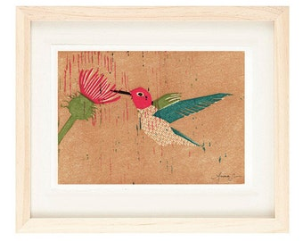 ANNA'S HUMMINGBIRD Linocut Reproduction Illustration Art Print: 4 x 6, 5 x 7