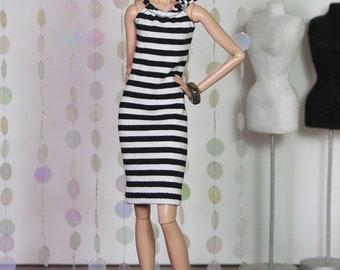 "Fashion Doll Kleid ""Black and White Stripes"""