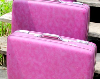 Eye Catching Purple Luggage Set by American Tourister - 3 Pieces - Good Condition