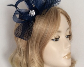 NAVY BLUE FASCINATOR, Made with crin, feathers,crystals, on silver headband