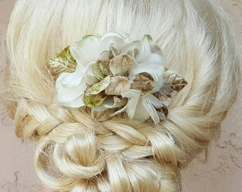 Bridal Hair Comb, Wedding Comb, Decorative Comb, Floral Wedding, ombre flowers, Vintage Velvet,  Boho, Green Tan, Updo Bridal Comb,  Bride