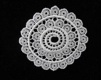White Venise Lace Medallion - Lot of 6