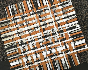 Crossword Paper Weaving- Crossword Puzzles- Black White, Sienna Brown- Handwoven Paper Art- Original Mixed Media- 16x16