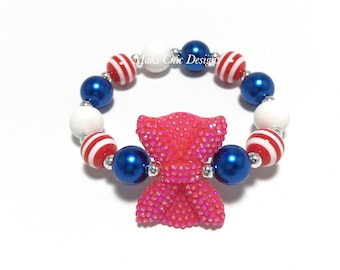 Toddler or Girls Small Beaded Red Bow Bracelet - Red, Blue and White Bracelet - Patriotic Bracelet - Bow Bracelet - Fourth of July Jewelry