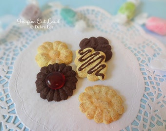 Fake Cookies Set of Five Handmade Faux Butter Sugar Cookie SET A