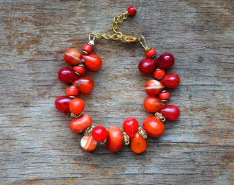 Mali trade bead bracelet with African amber and Baule beads