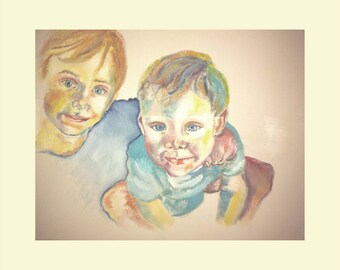 Oil painting on canvas siblings 3