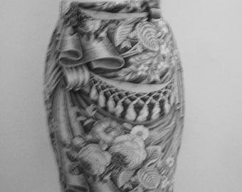 Chantal Thomass,Paris  # cotton skirt / rich print # good cond # size S-M