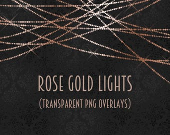 Rose gold light overlays, rose gold light clipart, twinkle lights, light strings, glitter lights, bokeh, pink, strings of light, DOWNLOAD