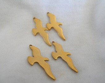 4 Brass Seagull Charms
