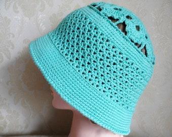 Cloche hat-Ocean green color cotton crochet hat-Women's cotton sun hat-Summer holiday hat-Crochet cotton hat-Summer beach hat