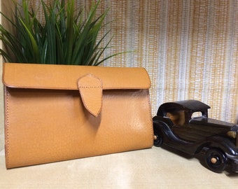 Vintage Leather Wallet, Mens Wallet, Real Leather, Fathers Day Gift, Retro Accessories, Tan Leather, Ostrich Effect.