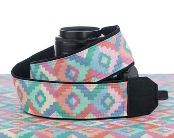 Pastel Tribal dSLR Camera Strap,  Southwestern, Nikon camera strap, Canon Camera Strap, Pocket, Mirrorless, Camera Accessories, SLR,168