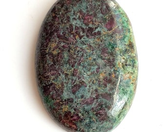 Ruby Fuchsite Oval Cabochon, Natural Ruby Designer Cabochon, 38x26 MM, 82  Cts, Ruby Fuchsite Gemstone, Loose Cabochon.