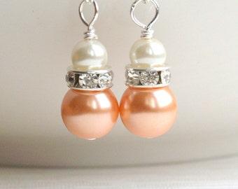Orange Earrings, Bridesmaid Gift Jewelry, Ivory Orange Earrings, Rhinestone Jewelry, Dangle Earrings, Orange Weddings, Flower Girl Jewelry