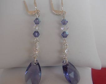 Earring Swarovski tanzanite and clear AB Sterling silver 925 earrings